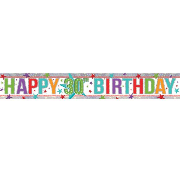 Holographic Multi Colour Happy 30th Birthday Foil Banner